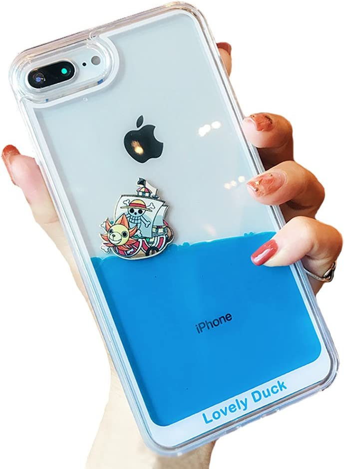 UnnFiko Dynamic Blue Liquid Floating Case Compatible with iPhone XR, Yellow Ducks and Pirate Ship Flexible Soft Rubber Case with Quicksand Cover (Pirate Ship, iPhone XR)
