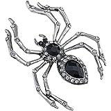 Alilang Halloween Crystal Rhinestone Black Belly Spider Brooch Pin