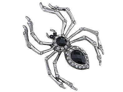 Alilang Pirate Gun Metal Tone Crystal Rhinestone Black Jeweled Spider Insect Pin Brooch dMeqngmQ