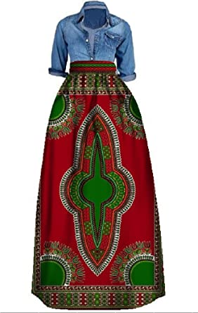 dbbc11b150 Amazon.com  Pxmoda Women s African Floral Print Dashiki Long Maxi Skirt  High Waist A Line Skirt Ball Gown  Clothing