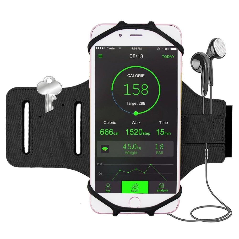 Bovon Sport Armband für iPhone 7/7 Plus / 6 / 6S Plus, Open-Face Design mit Schlüsselhalter Ideal für Laufen Wandern Jogging, Kompatibel mit Samsung Galaxy S8 / S8 Plus / S7 / S7 Edge Armband-Black
