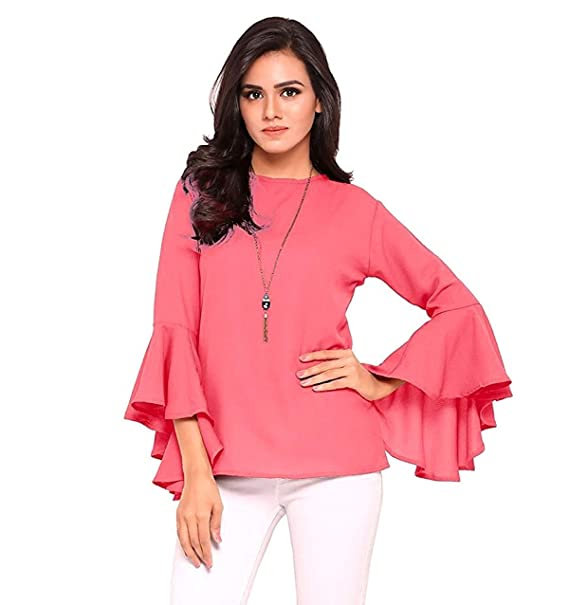 eda6c1afc079a7 VAANYA Women s Rayon Bell Sleeve Plain Casual Tops T-Shirt  Amazon ...
