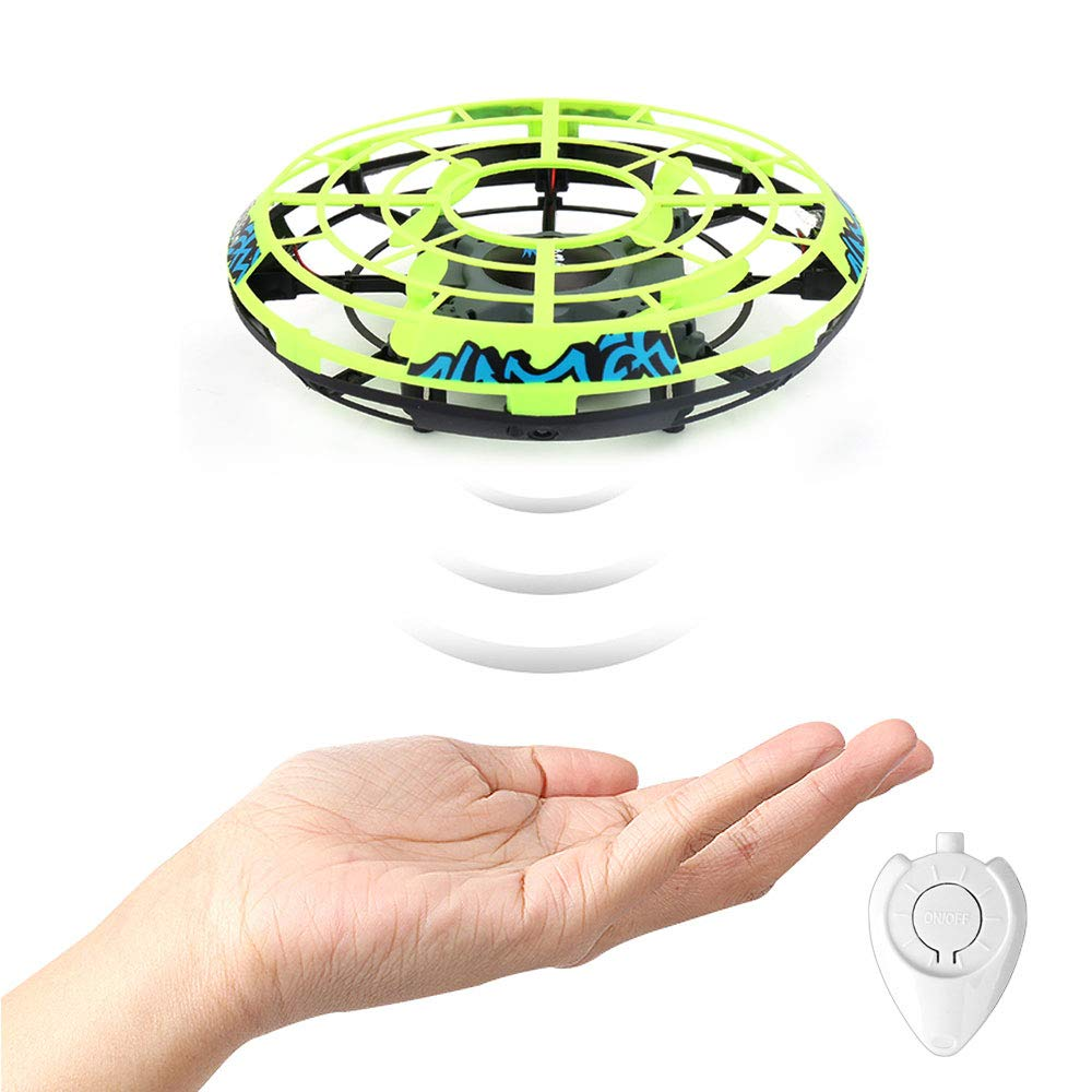 GearRoot Hand-Controlled Flying Ball Drone UFO Toy RC Helicopter with Remote Control Mini Pocket Drone Quadcopter Hover Ball Flying Toys for Boys Girls Adults Kids 5+ Year Old (Green)