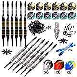 ONE80 Soft Tip Darts Set, 16grams, 12 Pack Steel Barrel, with Extra Flights, Shafts, Flight Protectors and Tool Kit
