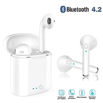 Upink Auriculares Inalámbricos Bluetooth v4.2 Auriculares Intrauditivos High Difelity Stereo con Estuche de Carga Portátil,Micrófono Incorporado para Coche ...