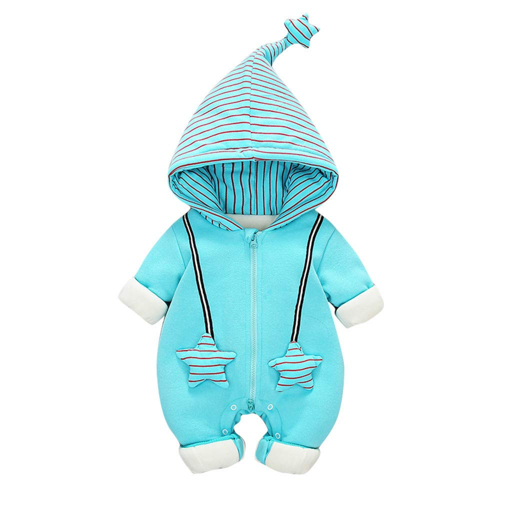 BFYOU Newborn Baby Kids Star Striped Winter Warm Romper Jumpsuit Hooded Coat Outwear Blue by BFYOU_ Girl Clothing