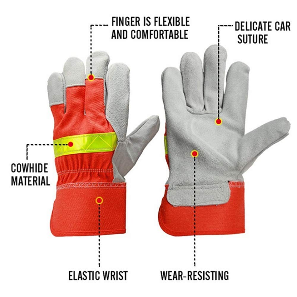 Shan water mouth Winter Climbing Cut-Proof Safety Gloves Welding Gloves, Two-Layer Leather Welding Gloves, Leather Anti-Cut Gloves, High-Temperature Resistant Gloves by Shan water mouth (Image #3)
