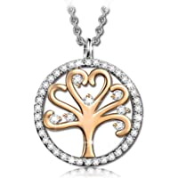 Kami Idea Tree of Life Women Princess Necklace with Crystals from Swarovski Gold Plated, Comes in Elegant Gift Box, Nickel-Free Passed SGS Test, 45+5cm