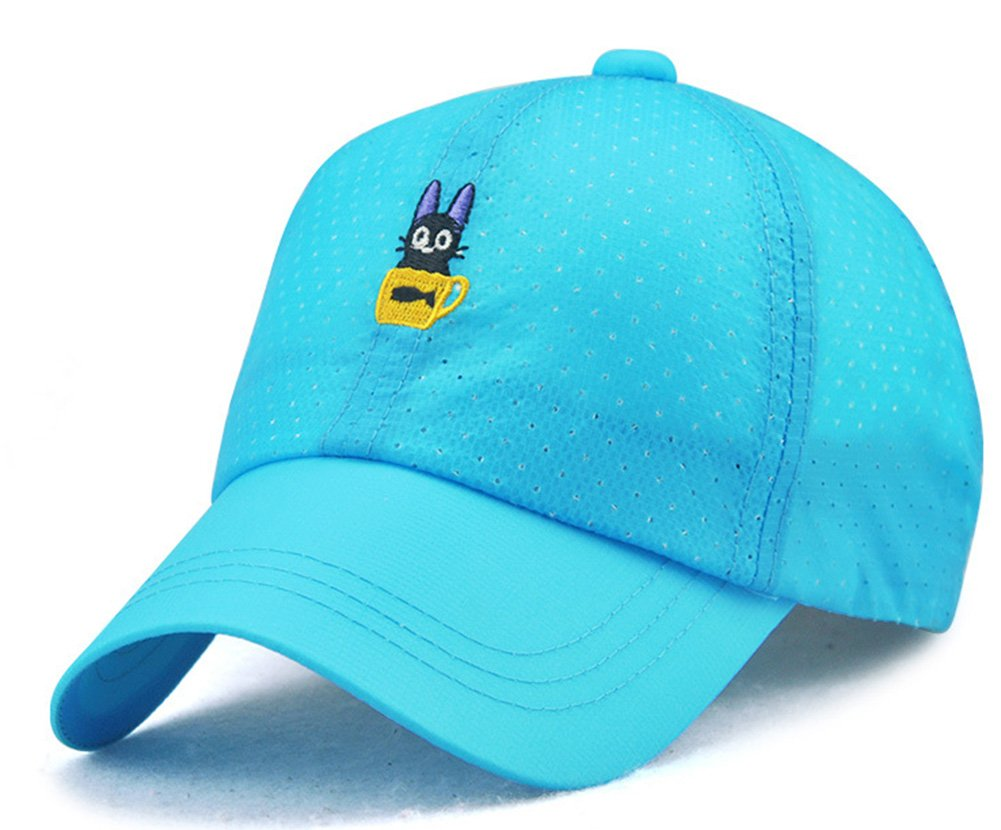 Roffatide Cat Embroidery Baseball Cap Kids Sun Hat Girls Peaked Cap Boys Adjustable Breathable Summer Hat Quick Dry Light Blue