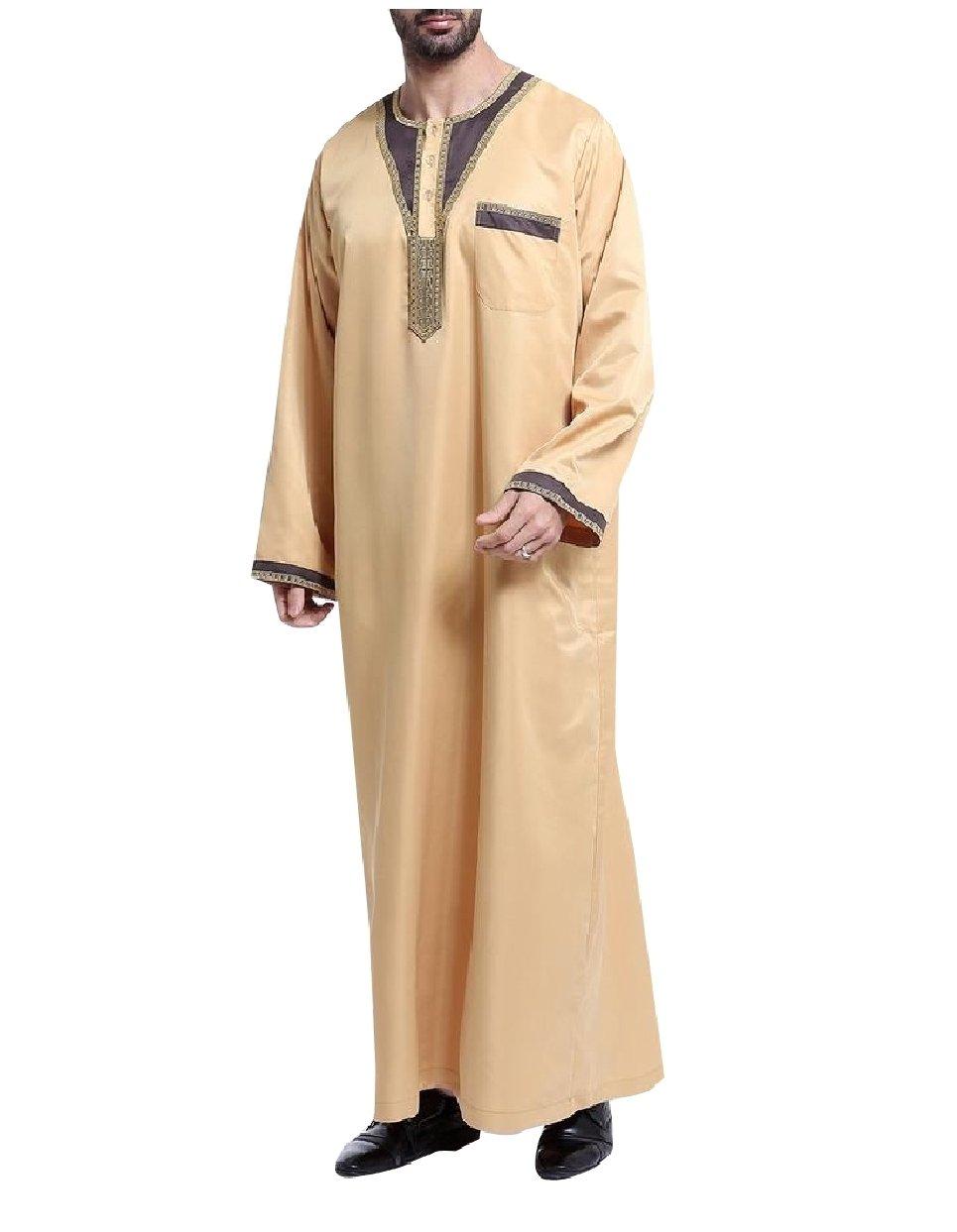 SportsX Men's Saudi Arabia Traditional Long Sleeve Cotton Muslim Thobe Yellow XL
