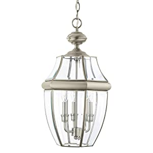 Sea Gull Lighting 6039-965 Lancaster Three-Light Outdoor Pendant Light With Clear Curved Beveled Glass Panels, Antique Brushed Nickel Finish