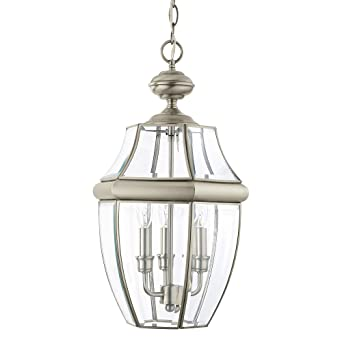 Sea Gull Lighting 6039 965 Lancaster Three Light Outdoor Pendant With Clear Curved Beveled
