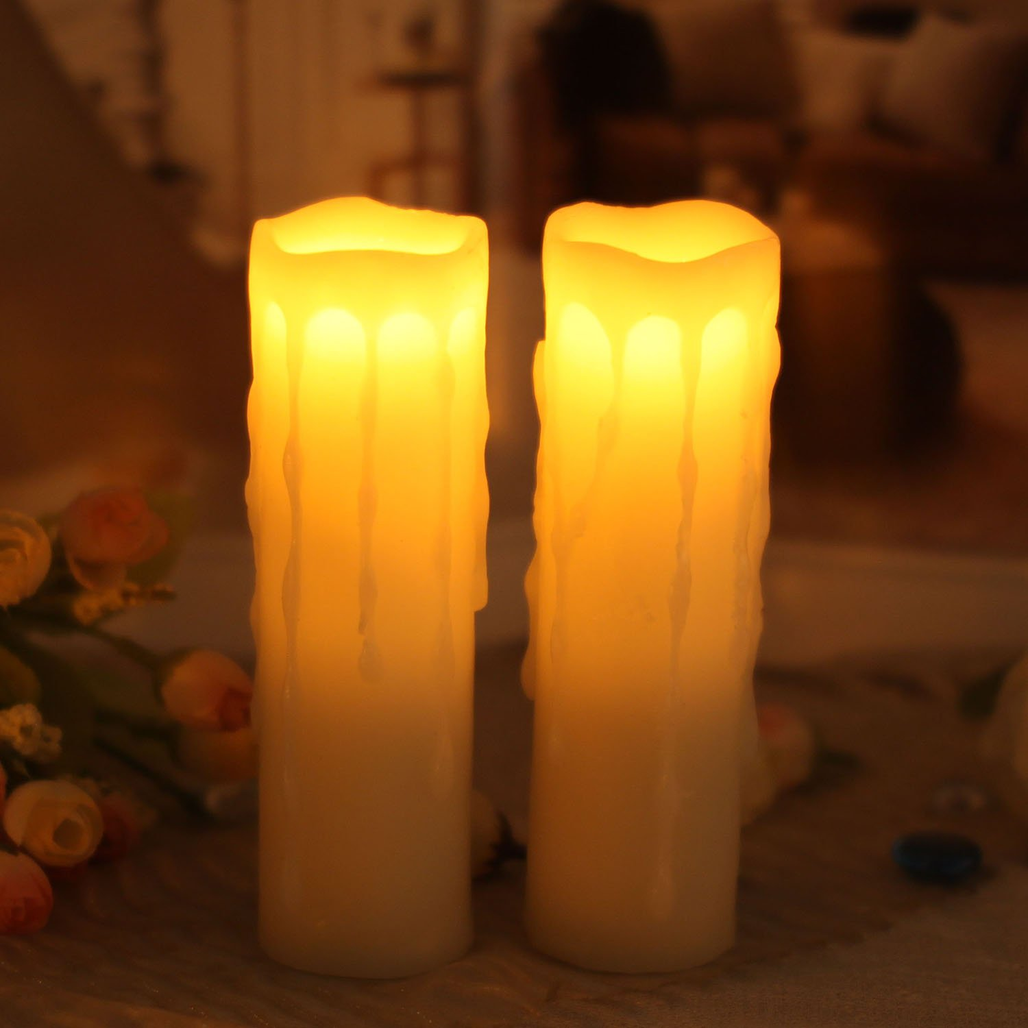 Flameless Led Candles, Battery Operated Wax Candle With Timer for Valentine's Day and Home Decor,1.75x6 Inches,Ivory,Pack of 2