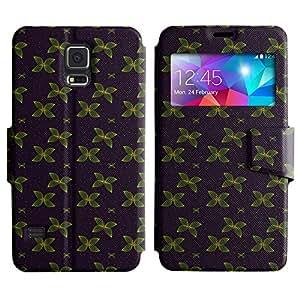 LEOCASE mariposa verde Funda Carcasa Cuero Tapa Case Para Samsung Galaxy S5 I9600 No.1003459