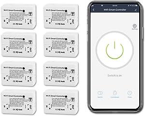 8 Pack CNBINGO Basic Remote WiFi Switch for Most Appliances, Alexa Light Switch, Timer Smart Switch Work with Alexa/Google Assistant, Smart Life App, Wireless Electric Switch, AC 250V 1500W