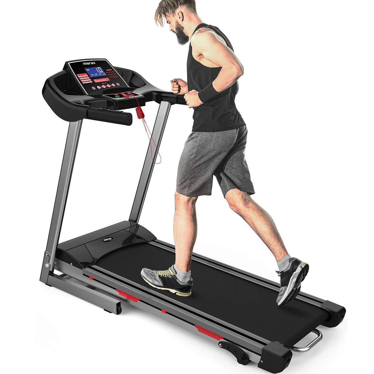Merax Electric Folding Treadmill Running Jogging Machine, 16.5'' Wide Running Surface, Convenient Shortcut Buttons, Shock-Absorbing Running Board
