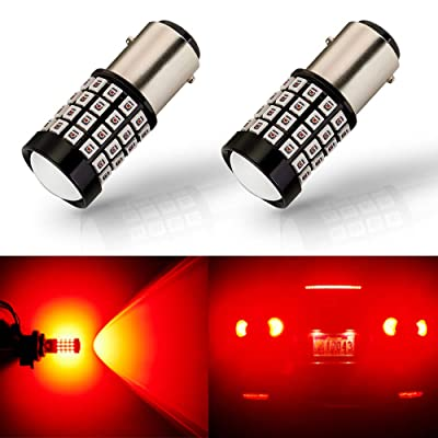 ANTLINE Newest 1157 LED Bulb Brilliant Red (2 Pack), 9-30V Super Bright 1600 Lumens 2057 2357 7528 BAY15D 52-SMD LED Lamps with Projector for Replacement, Work as Tail Brake Turn Signal Blinker Lights: Automotive