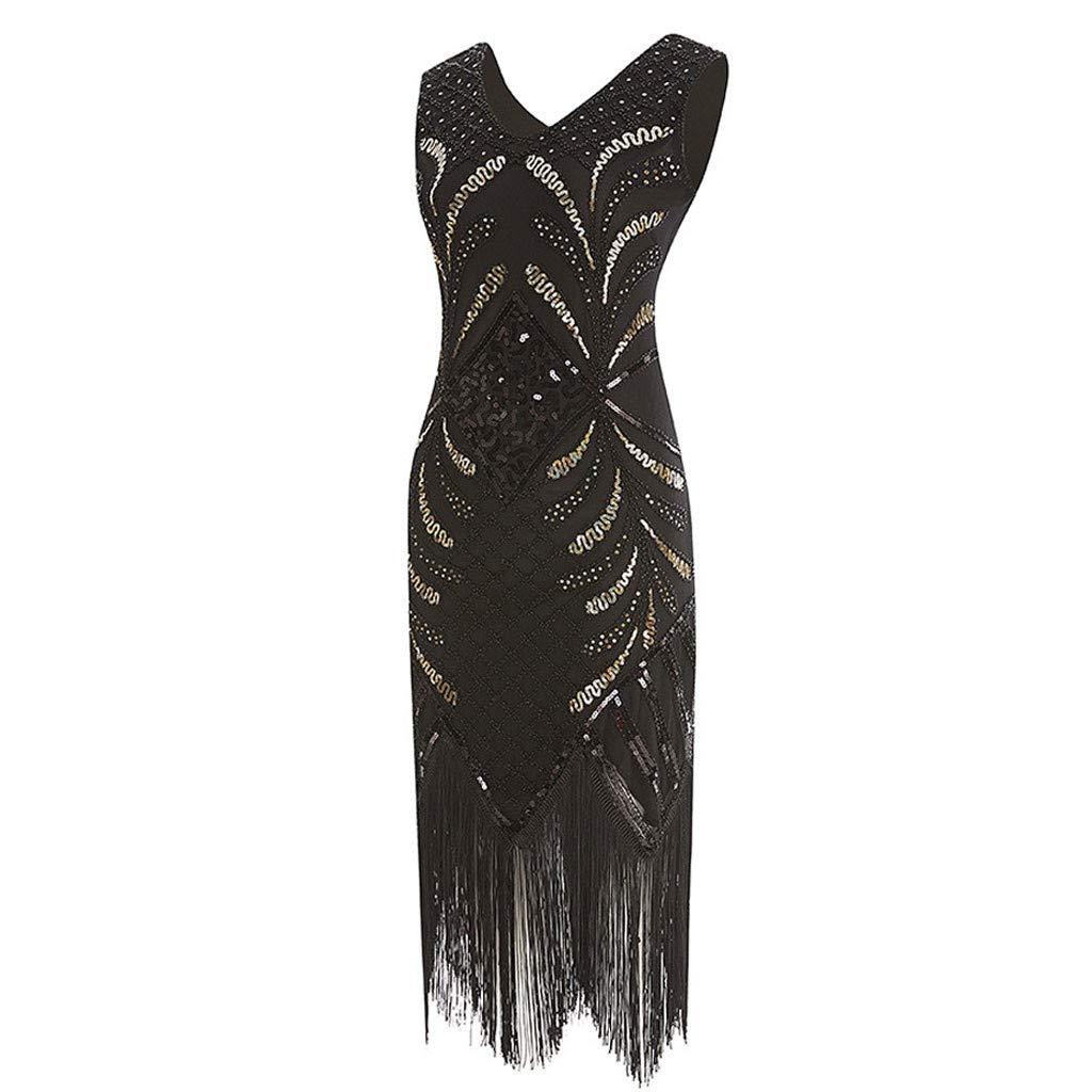 367ba480bd Amazon.com  2019 Women s 1920s Dress Sequin Art Deco Flapper Evening Party  Dress by CieKen  Clothing