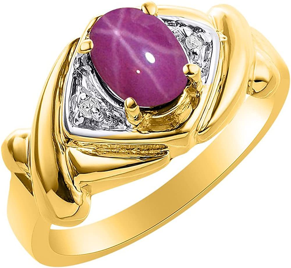 Diamond /& Star Ruby Ring Set In Yellow Gold Plated Silver Color Stone Birthstone Ring XO Hugs /& Kisses