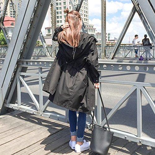 Mayihang en la primavera de 2017 El nuevo las mujeres surcoreanas anorak Largo y suelto Bf encapuchados estudiante abrigos de cintura All-Match marea Negro