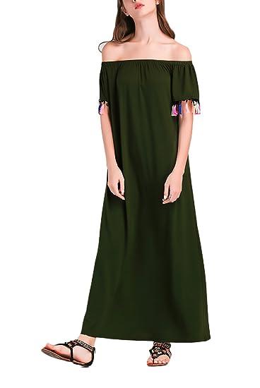 Vestidos Verano Mujer Elegante Barco Cuello Manga Corta Sin Tirantes Color Sólido Vestido Playa Casuales Dresses