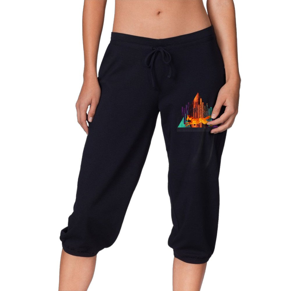 Running Wolf Graphic Women's Drawstring Elastic Cropped Jogger Pants by Frered