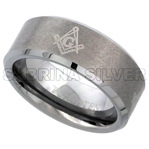 8mm Tungsten 900 Wedding Ring Etched Masonic Symbol Pattern Beveled Edges Brushed Finished Comfort Fit