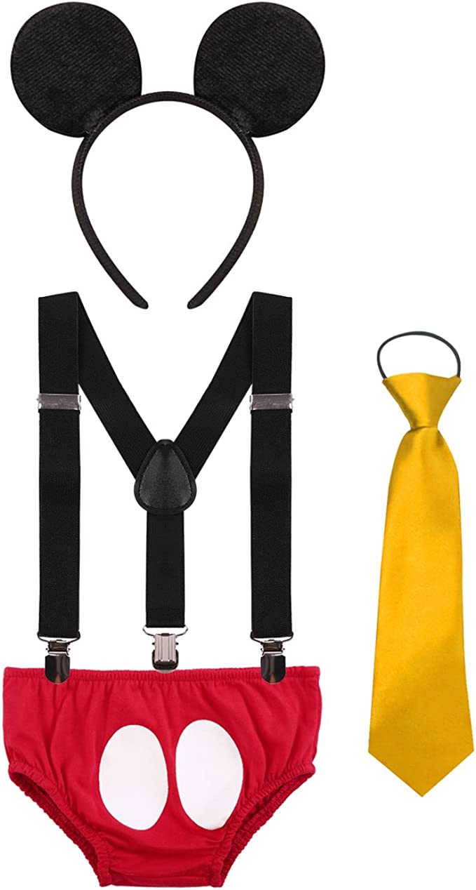 Baby Boys First Birthday Fancy Costume Cake Smash Outfits Suspenders Bloomers Bowtie Mouse Ear Photography Props 4PCS Set