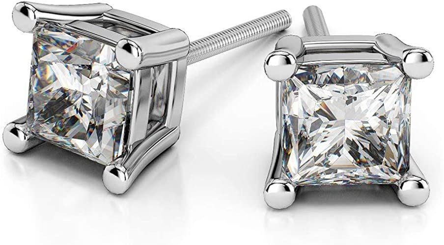 2.00 Ct VVS1 Solitaire Diamond Earring 14K Solid White Gold Round Cut Studs