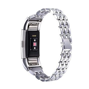 Bandmax Fitbit Charge 2 Bracelet Wrist Strap en Métal Bracelet de Remplacement Orné de Strass pour