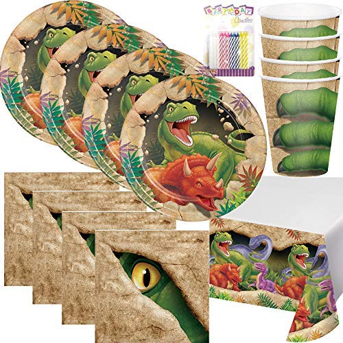 T-Rex Dinosaur Theme Party Supplies Pack (Serves-16) Dessert Plates, Beverage Napkins, Cups, Table Cover - Dino Blast Party Supply Tableware Set Kit Includes Birthday Candles