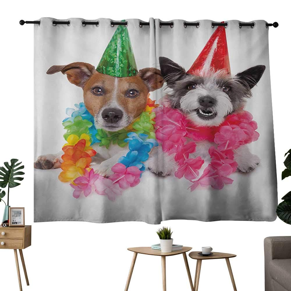 color05 42 x72 (W106cmxL182cm) NUOMANAN Blackout Curtains 2 Panels Kids Birthday,Baby Girl Birthday Celebration Party with Flags and Bears Cute Toys Print,Pale Pink,Blackout Draperies for Bedroom Living Room 42 x45