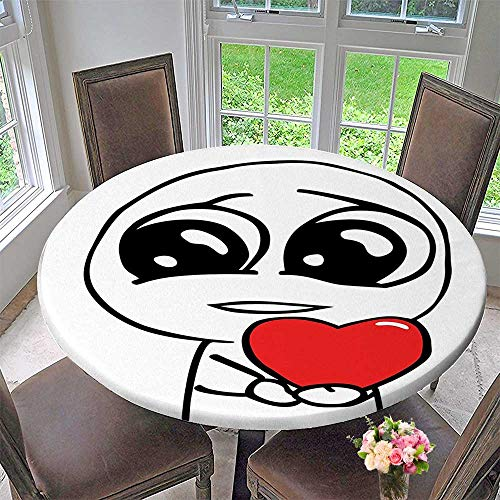 Mikihome Elasticized Table Cover Cute Lover Guy Meme Face with a Heart Romance Forever Spouse Valentines Image Machine Washable 40