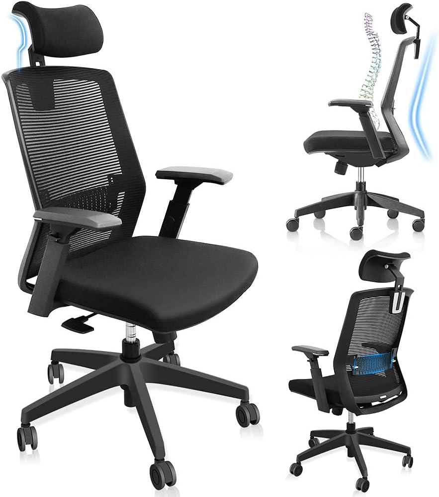 Ergonomic Office Chair Mesh Desk Chair High Back Computer Office Chair Lumbar Support Adjustable Headrest/3D Armrest/Seat Height, Tilt Function, Swivel Rolling Chair, Black