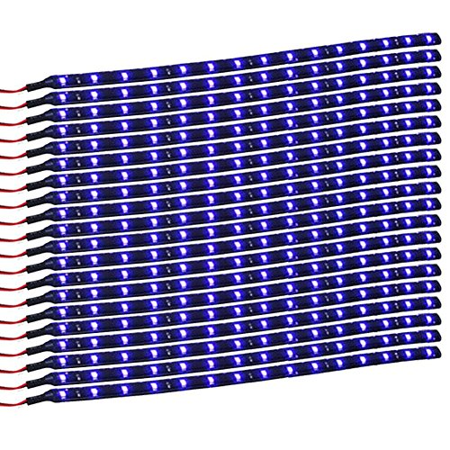 Red Led Interior Lights (XT AUTO Blue 12v 15 Led 30cm Car Flexible Waterproof Underbody Light Strip Pack of 20)