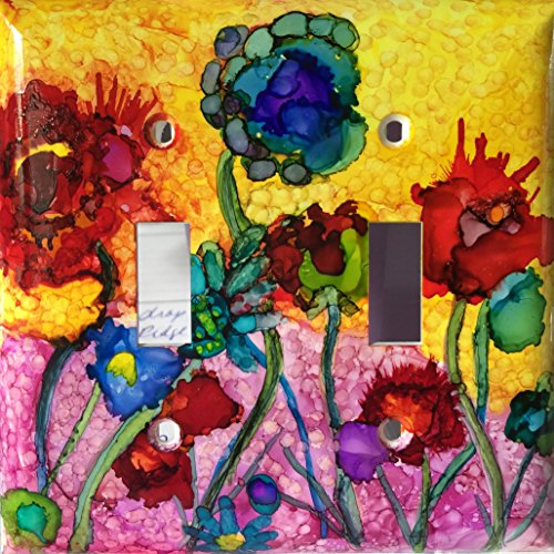 Switchplate cover, Abstract flowers 3, alcohol ink - Contemporary Switchplate