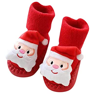 Baby Boys Girls Christmas Floor Socks Newborn Anti-Slip Baby Step Socks (A,