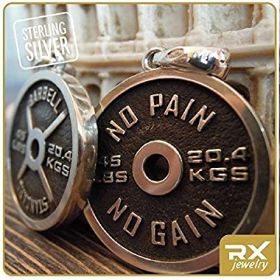 Weightlifting Jewelry Necklace Weight Plate No Pain No Gain Barbell Standart for Powerlifting and Bodybuilding Sportsmen