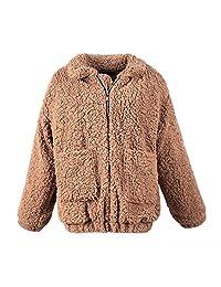MIOIM Womens Warm Fluffy Shaggy Faux Fur Zip up Jacket Casual Oversized Outwear Coat