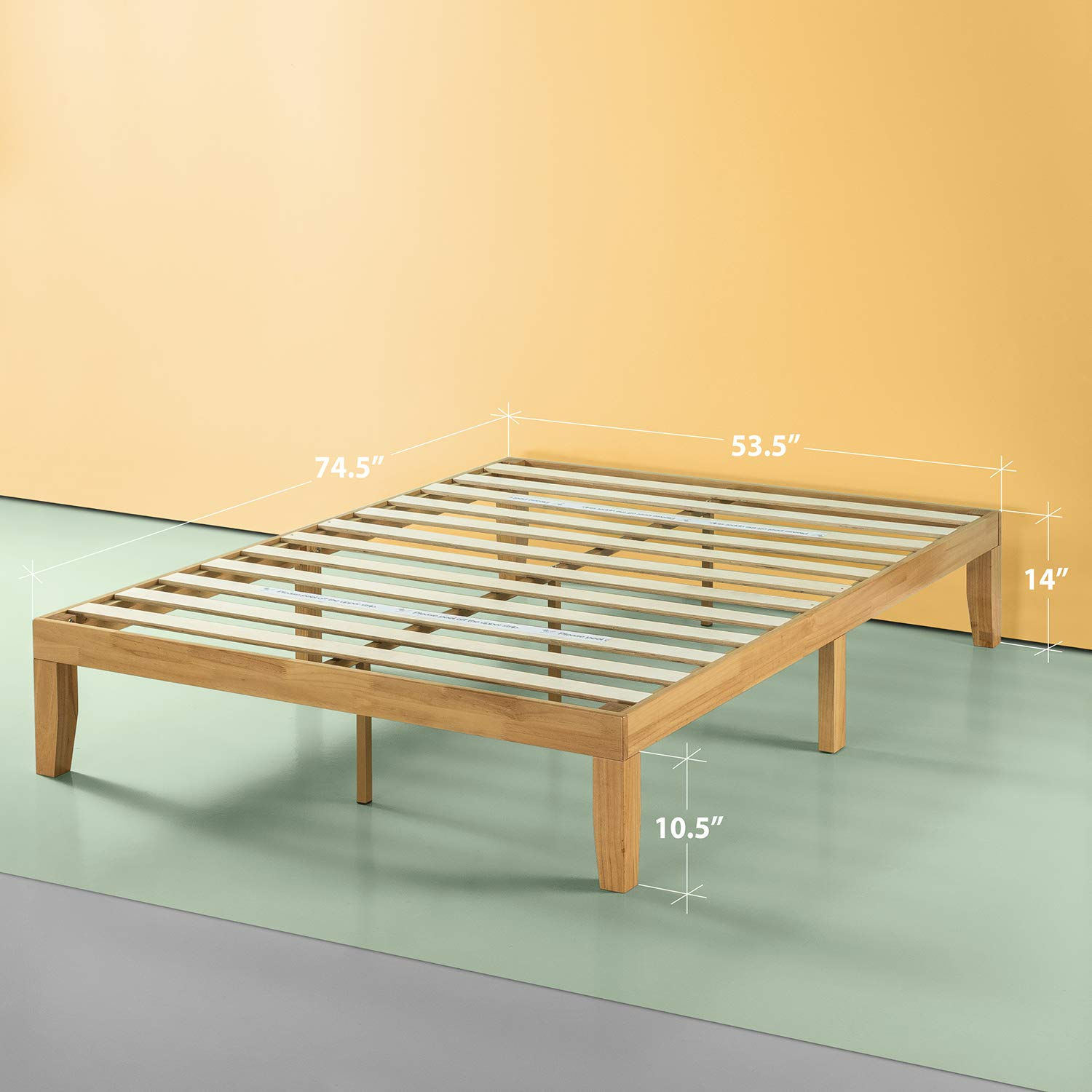 No Boxspring Needed Zinus OLB-RWPBB-14F 14 Inch Deluxe Wood Platform Bed Natural Finish Wood Slat Support Full