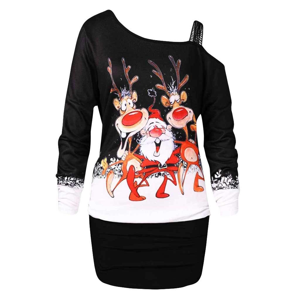 M, Schwarz Xiangdanful Damen Weihnachten Pullover Xmas Print Pullikleid Langarmshirt Skew Neck Pulloverkleid Frauen Merry Christmas Party Dress Schulterfreies Minikleid Halloween Bluse Tops