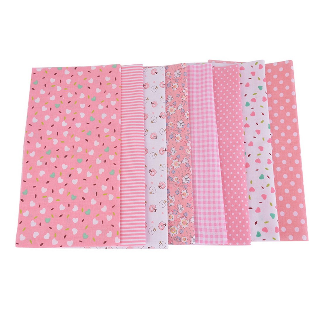 Souarts Cotton Floral Fabric Bundles Quilting Sewing Patchwork Cloths DIY CraftYellow 25x25cm 7pcs
