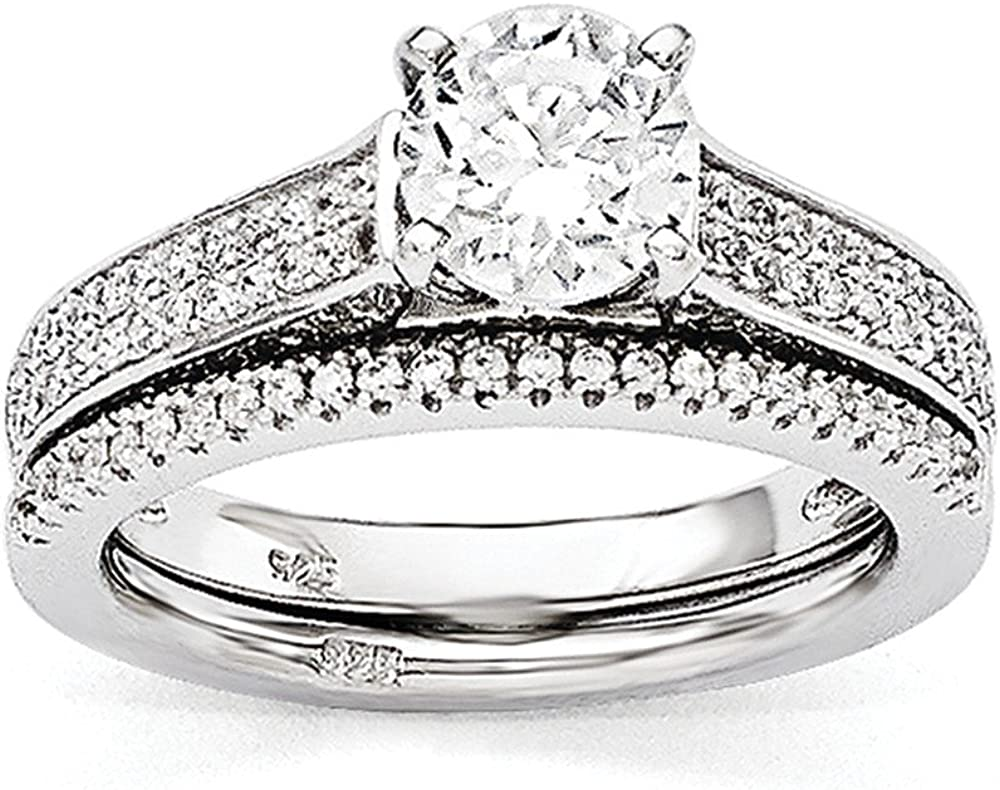 Sterling Silver and CZ Brilliant Embers Rhodium 2-piece Wedding Set Size 8