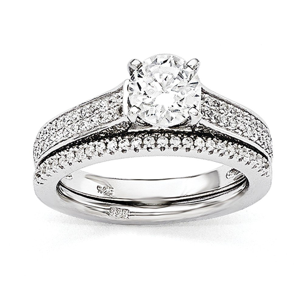 Perfect Jewelry Gift Sterling Silver & CZ Brilliant Embers Rhodium 2-piece Wedding Set