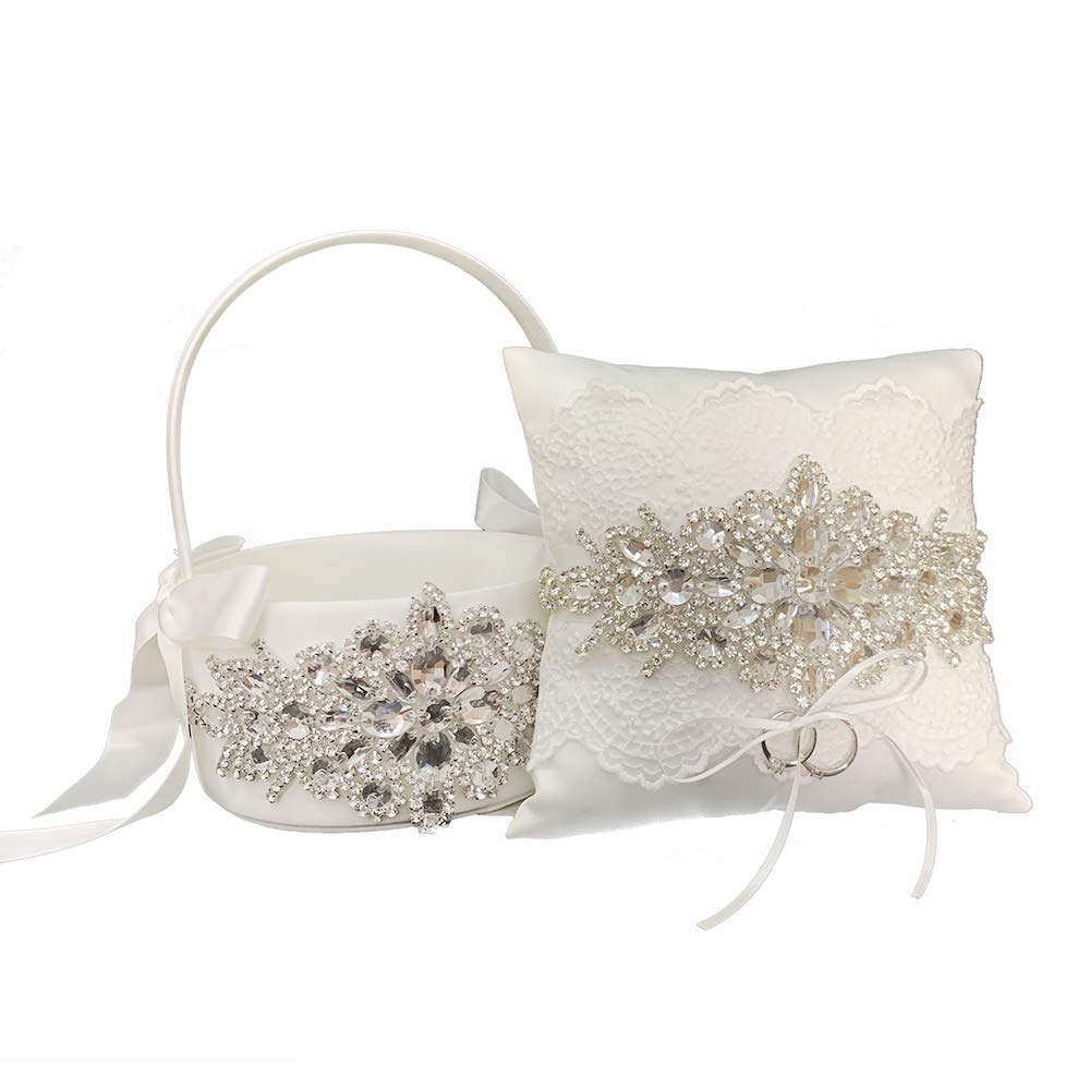LAPUDA Beautiful Hand Nailed Beads of Wedding Flower Basket with and Ring Pillow Elegant Appearance and Ivory Color,Clusters of Stars Style 2 Basket