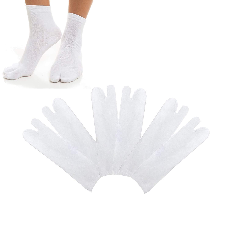 SunTrade 3 Pairs Japan Tabi Socks, Split 2 Toe Sandals Ninja Slipper Japanese Kimono Cotton White