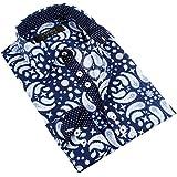 Coogi Men's Navy/Light Blue/White Paisley Dress Shirt (Small)