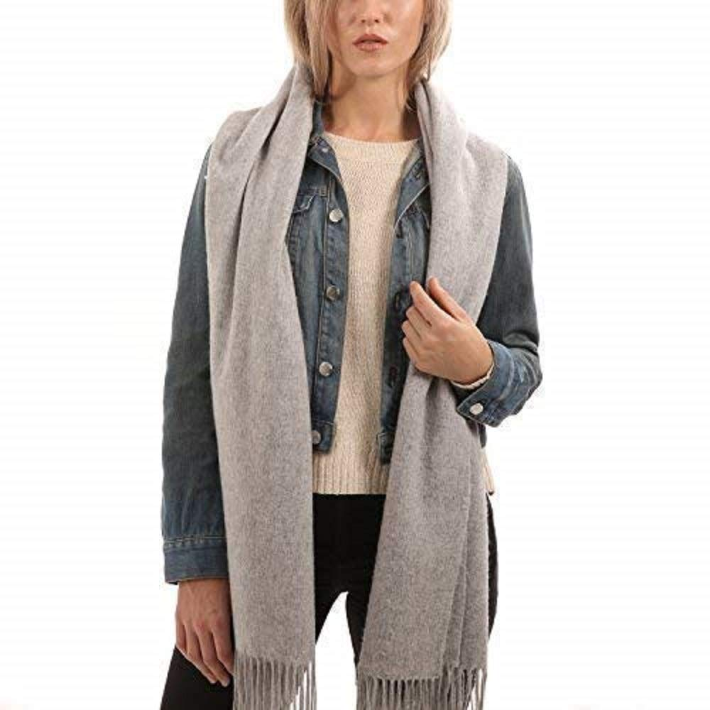 Light Grey Cashmere Scarf  Gift Wrapped  Extra Large  Scarves for Women by UNLABELED