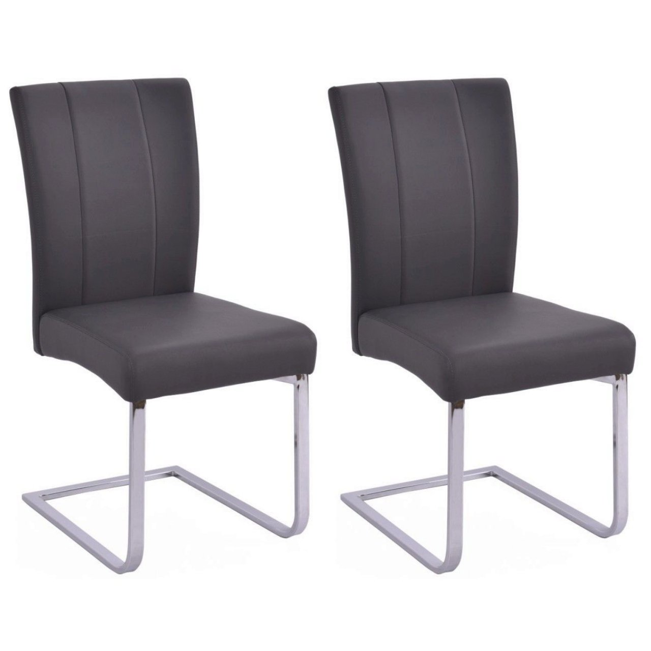 Elegant Dining Chairs High Back Elegant Design Sturdy Stainless Steel Legs Home Office Furniture Grey - Set of 2 #1006