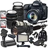 Canon EOS 7D Mark II 20.2MP CMOS Digital SLR Camera with Canon EF-S 18-135mm f/3.5-5.6 IS STM Lens + Canon EF 75-300mm f/4-5.6 III Lens + 500mm f/8 Telephoto Preset Lens + 650-1300mm f/8-16 Lens